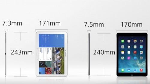dimensioni galaxy tab pro e ipad air